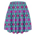 Pink Green Turquoise Swirl Pattern High Waist Skirt View2