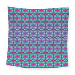 Pink Green Turquoise Swirl Pattern Square Tapestry (large)