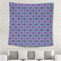 Pink Green Turquoise Swirl Pattern Square Tapestry (Large) View2