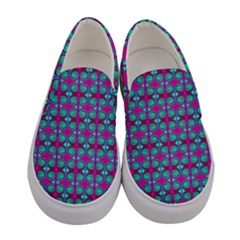 Pink Green Turquoise Swirl Pattern Women s Canvas Slip Ons