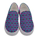 Pink Green Turquoise Swirl Pattern Women s Canvas Slip Ons View1