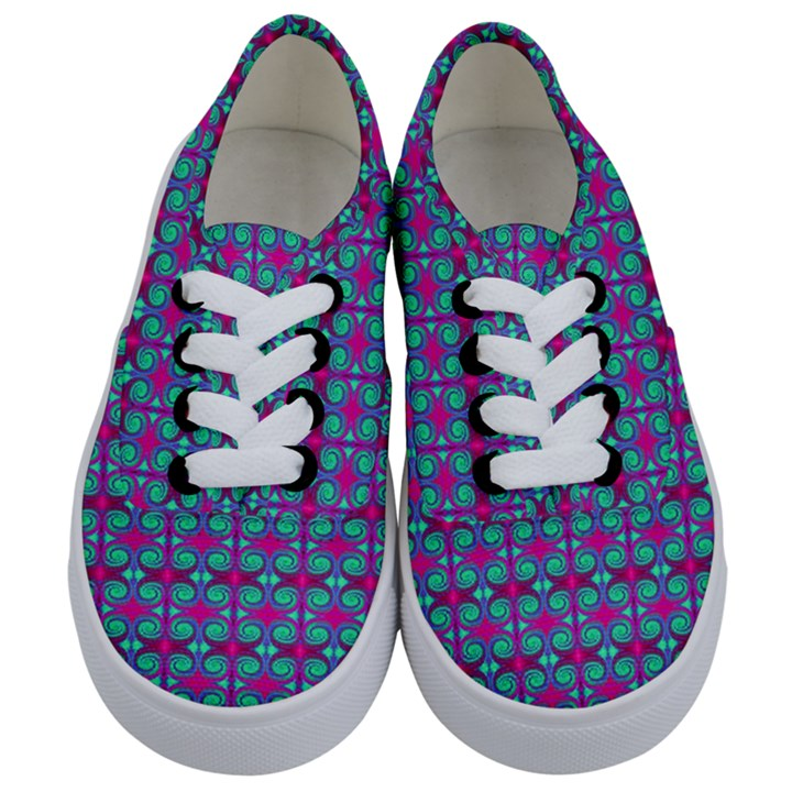 Pink Green Turquoise Swirl Pattern Kids  Classic Low Top Sneakers