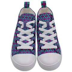 Pink Green Turquoise Swirl Pattern Kid s Mid Top Canvas Sneakers