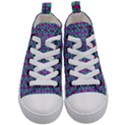 Pink Green Turquoise Swirl Pattern Kid s Mid-Top Canvas Sneakers View1