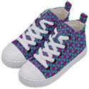 Pink Green Turquoise Swirl Pattern Kid s Mid-Top Canvas Sneakers View2