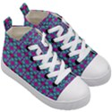Pink Green Turquoise Swirl Pattern Kid s Mid-Top Canvas Sneakers View3