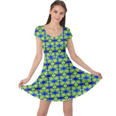 Blue Yellow Green Swirl Pattern Cap Sleeve Dress
