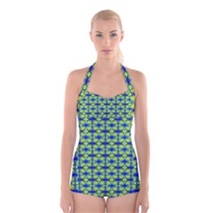 Blue Yellow Green Swirl Pattern Boyleg Halter Swimsuit
