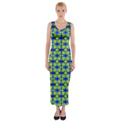 Blue Yellow Green Swirl Pattern Fitted Maxi Dress