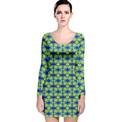 Blue Yellow Green Swirl Pattern Long Sleeve Velvet Bodycon Dress