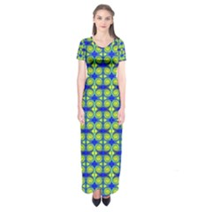 Blue Yellow Green Swirl Pattern Short Sleeve Maxi Dress