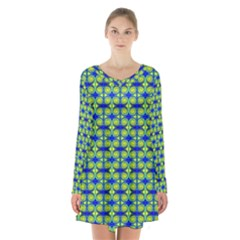 Blue Yellow Green Swirl Pattern Long Sleeve Velvet V Neck Dress