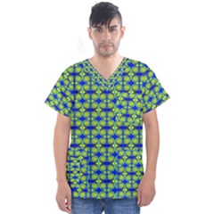 Blue Yellow Green Swirl Pattern Men s V Neck Scrub Top by BrightVibesDesign