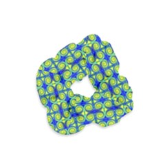 Blue Yellow Green Swirl Pattern Velvet Scrunchie by BrightVibesDesign