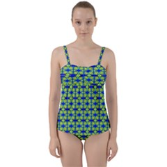 Blue Yellow Green Swirl Pattern Twist Front Tankini Set