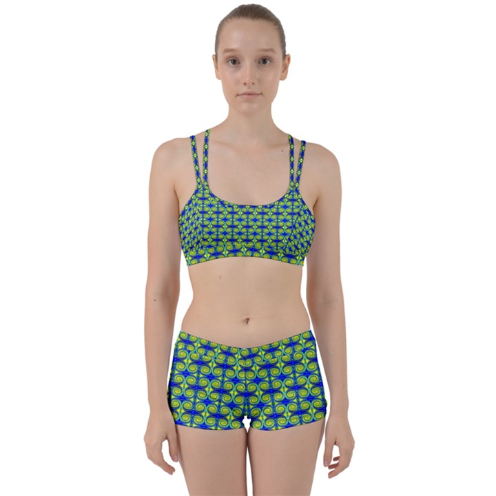 Blue Yellow Green Swirl Pattern Women s Sports Set