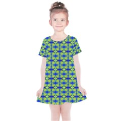 Blue Yellow Green Swirl Pattern Kids  Simple Cotton Dress