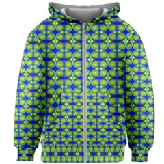 Blue Yellow Green Swirl Pattern Kids Zipper Hoodie Without Drawstring