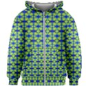 Blue Yellow Green Swirl Pattern Kids Zipper Hoodie Without Drawstring View1