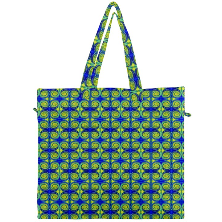 Blue Yellow Green Swirl Pattern Canvas Travel Bag