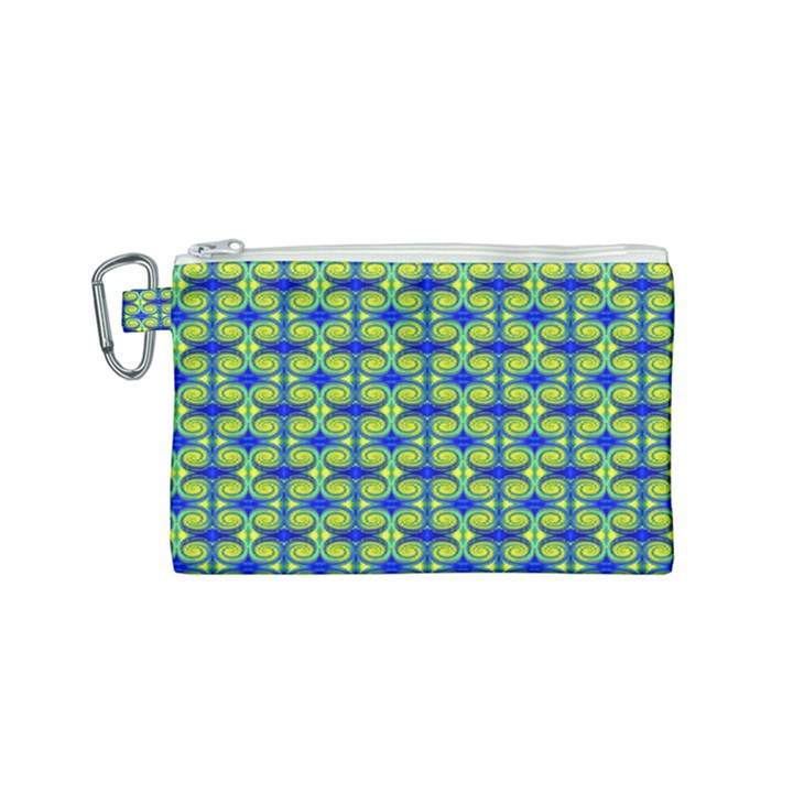 Blue Yellow Green Swirl Pattern Canvas Cosmetic Bag (Small)