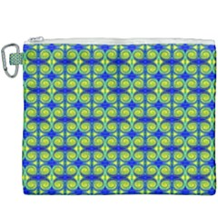 Blue Yellow Green Swirl Pattern Canvas Cosmetic Bag (xxxl)