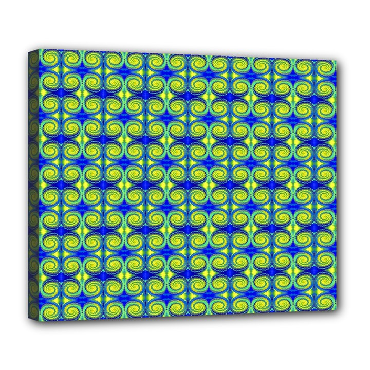 Blue Yellow Green Swirl Pattern Deluxe Canvas 24  x 20