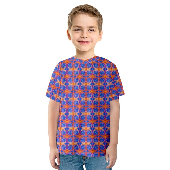 Blue Orange Yellow Swirl Pattern Kids  Sport Mesh Tee