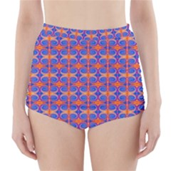 Blue Orange Yellow Swirl Pattern High Waisted Bikini Bottoms