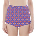 Blue Orange Yellow Swirl Pattern High-Waisted Bikini Bottoms View1