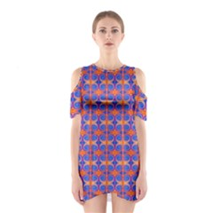 Blue Orange Yellow Swirl Pattern Shoulder Cutout One Piece by BrightVibesDesign