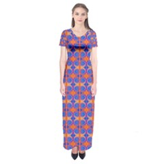Blue Orange Yellow Swirl Pattern Short Sleeve Maxi Dress