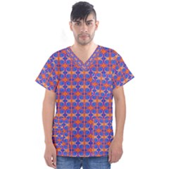 Blue Orange Yellow Swirl Pattern Men s V Neck Scrub Top