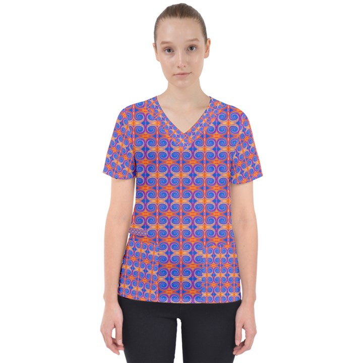 Blue Orange Yellow Swirl Pattern Scrub Top