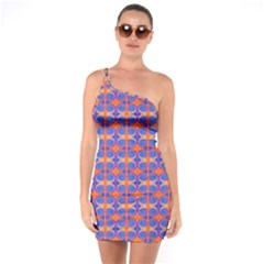 Blue Orange Yellow Swirl Pattern One Soulder Bodycon Dress by BrightVibesDesign