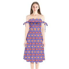 Blue Orange Yellow Swirl Pattern Shoulder Tie Bardot Midi Dress by BrightVibesDesign