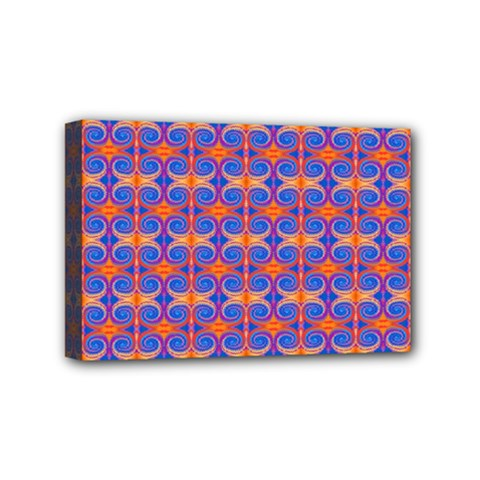 Blue Orange Yellow Swirl Pattern Mini Canvas 6  X 4  by BrightVibesDesign