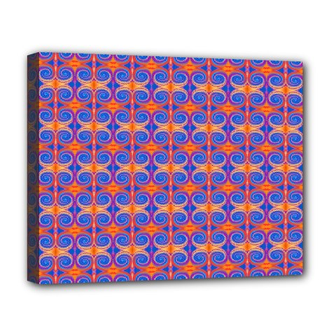Blue Orange Yellow Swirl Pattern Deluxe Canvas 20  X 16