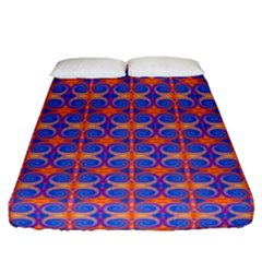 Blue Orange Yellow Swirl Pattern Fitted Sheet (queen Size)