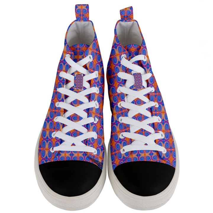 Blue Orange Yellow Swirl Pattern Men s Mid-Top Canvas Sneakers