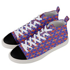 Blue Orange Yellow Swirl Pattern Men s Mid-top Canvas Sneakers by BrightVibesDesign