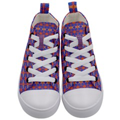 Blue Orange Yellow Swirl Pattern Kid s Mid Top Canvas Sneakers