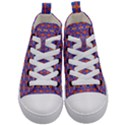 Blue Orange Yellow Swirl Pattern Kid s Mid-Top Canvas Sneakers View1