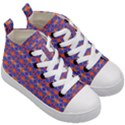Blue Orange Yellow Swirl Pattern Kid s Mid-Top Canvas Sneakers View3