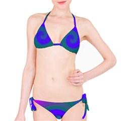 Swirl Green Blue Abstract Classic Bikini Set