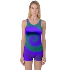 Swirl Green Blue Abstract One Piece Boyleg Swimsuit by BrightVibesDesign