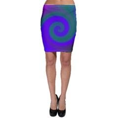 Swirl Green Blue Abstract Bodycon Skirt