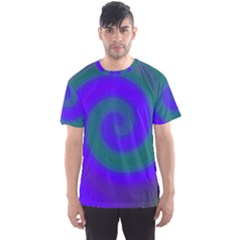 Swirl Green Blue Abstract Men s Sports Mesh Tee