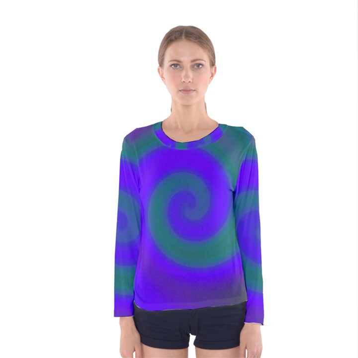 Swirl Green Blue Abstract Women s Long Sleeve Tee