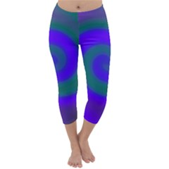 Swirl Green Blue Abstract Capri Winter Leggings
